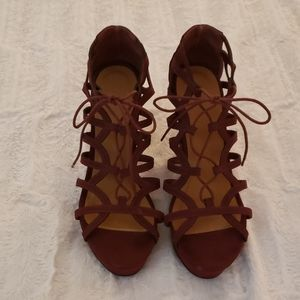 Maroon lace up wedges